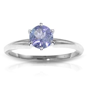 SOLID GOLD SOLITAIRE RING WITH NATURAL TANZANITE
